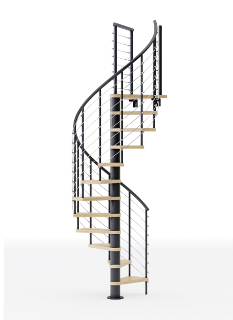 black steel spiral staircase with laminate wood treads
