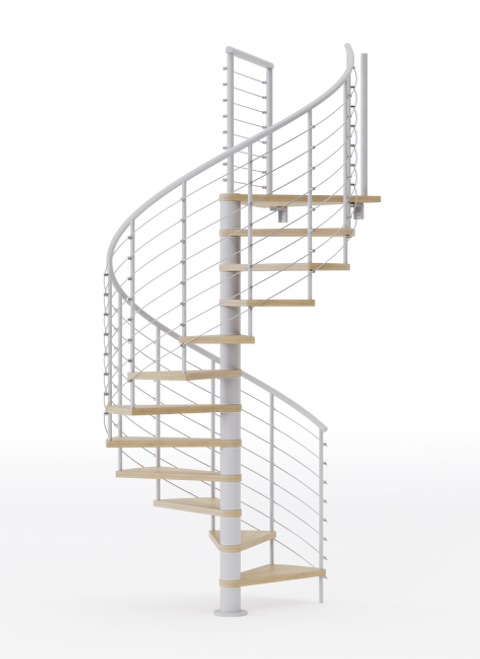 White code steel spiral staircase with laminate wood treads