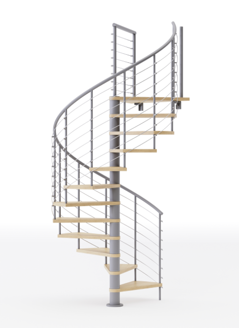 gray code compliant steel spiral staircase with laminate wood treads