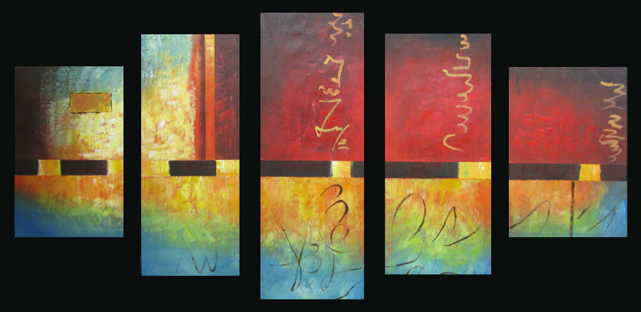 Fire And Ice Handpainted Art Painting 58in X 36in Details Inside