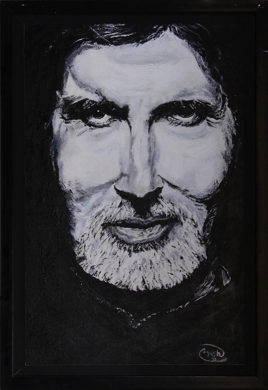 Amitabh bachchan portrait black white real 3damitabh bachchan
