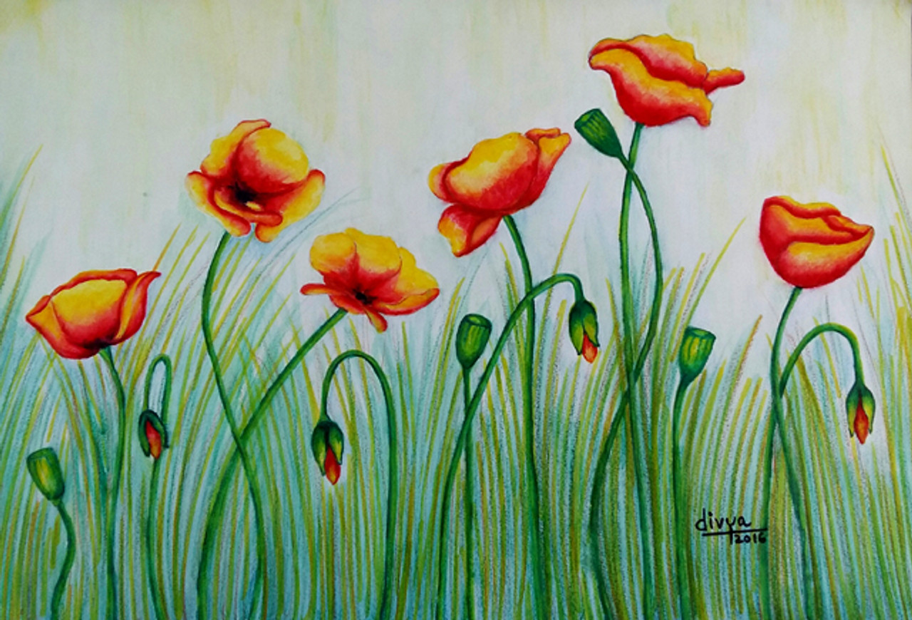 Buy Poppy Flowers Handmade Painting By Divya Kakkar Code