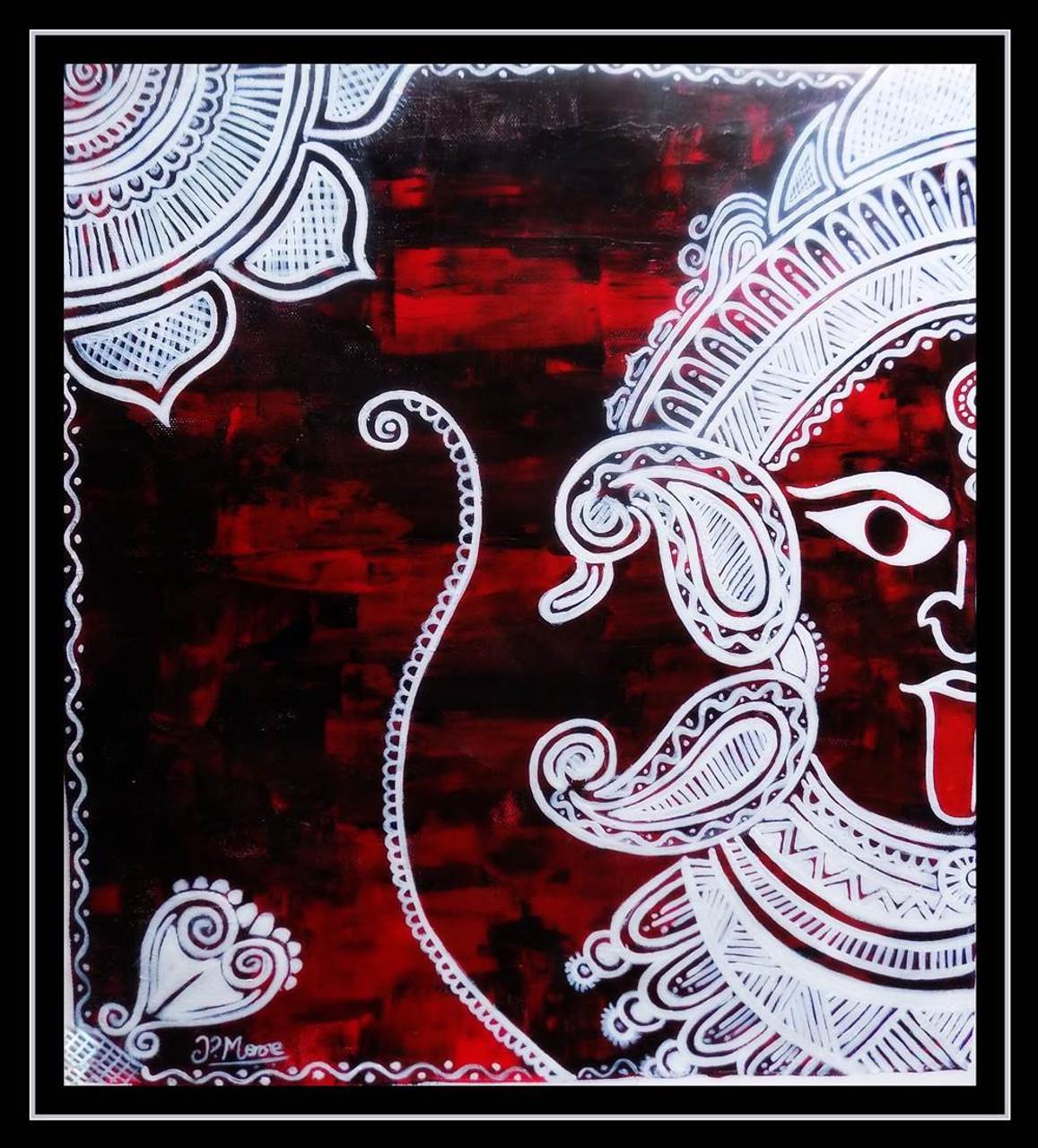 Maa Kali Rangoli Art 1033 4438 Handpainted Art Painting 20in X 21in Framed