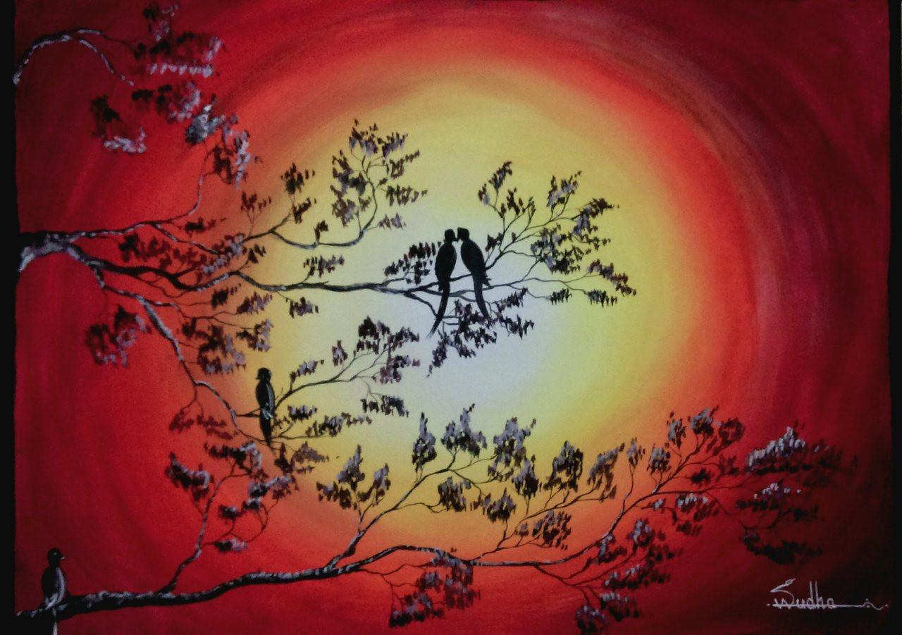 Buy Sunset Handmade Painting By Vasudha K Code Art 1520 12239