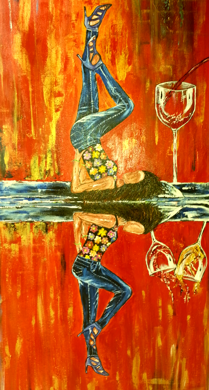 Double W Temptation Abstract Art Canvas Painting Art 1252 13260 Handpainted Art Painting 24in X 48in
