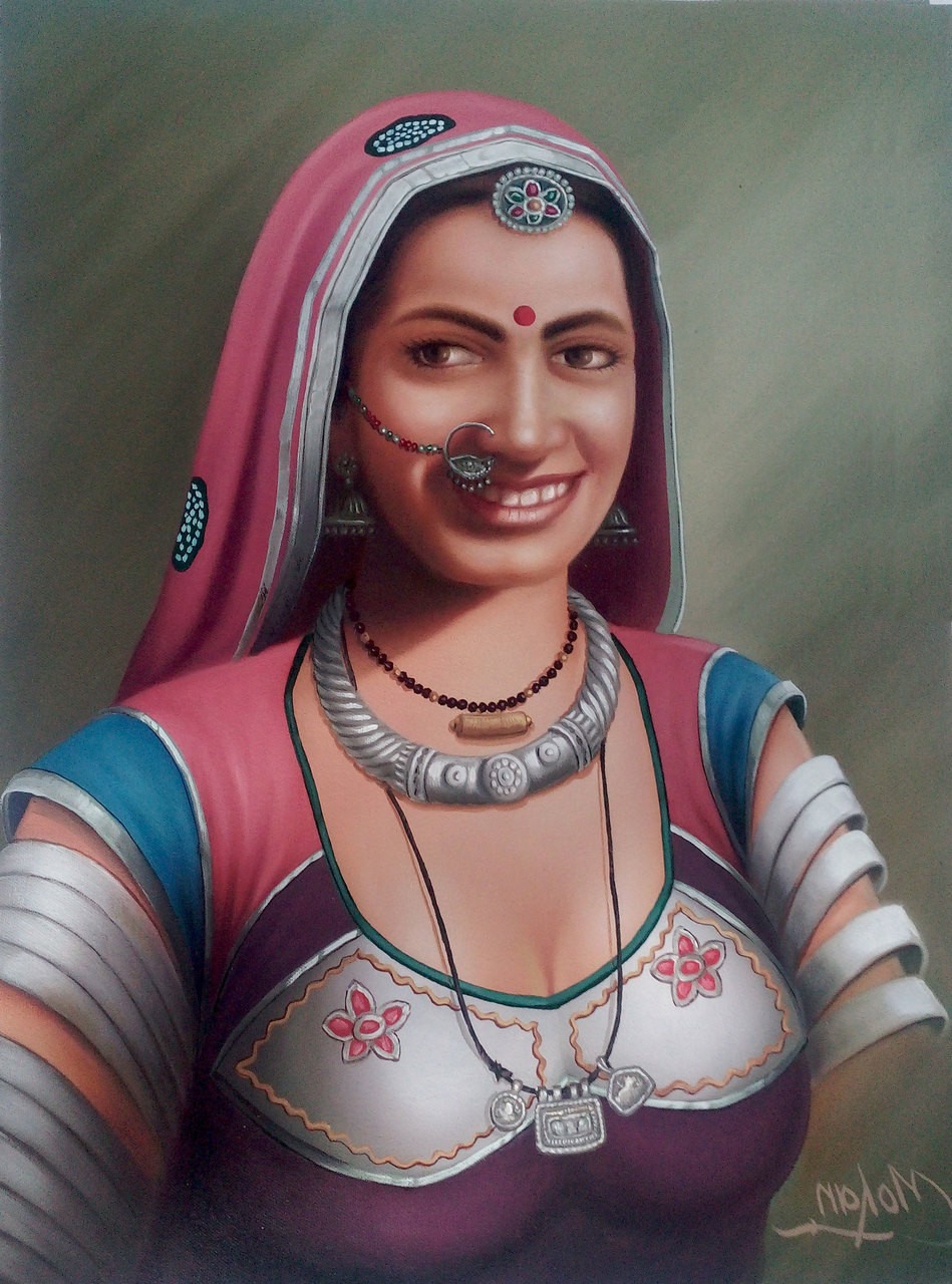 Buy Rajasthani Lady Handmade Painting By Mohan Verma Code -4588