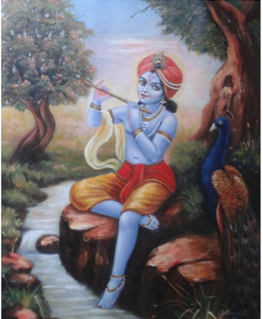 Lord Krishna (ART_836_14307) - Handpainted Art Painting - 24in X 20in