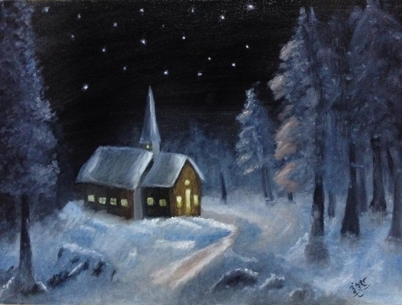 Snowy Christmas.Snowy Christmas Art 1798 14584 Handpainted Art Painting 16in X 12in Framed