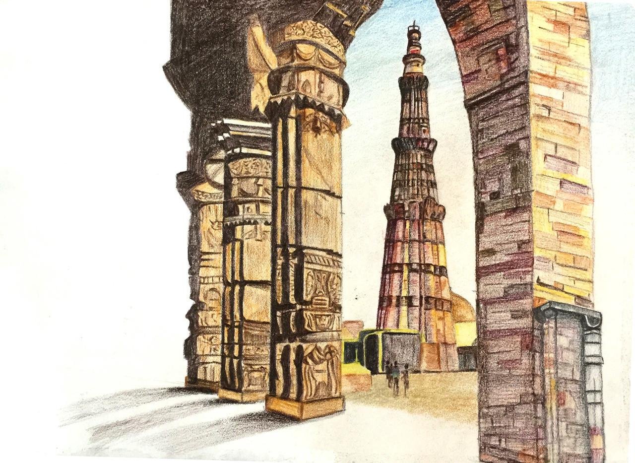 Forts monuments history nature india landscape qutub minar pencil