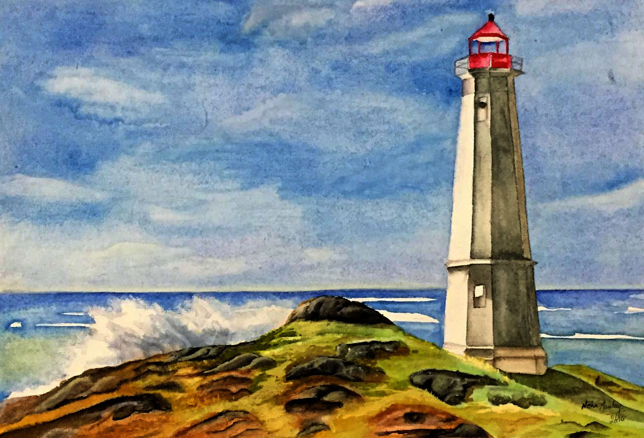 The solitary lighthouse (ART_1877_15177) - Handpainted Art Painting - 12in  X 9in