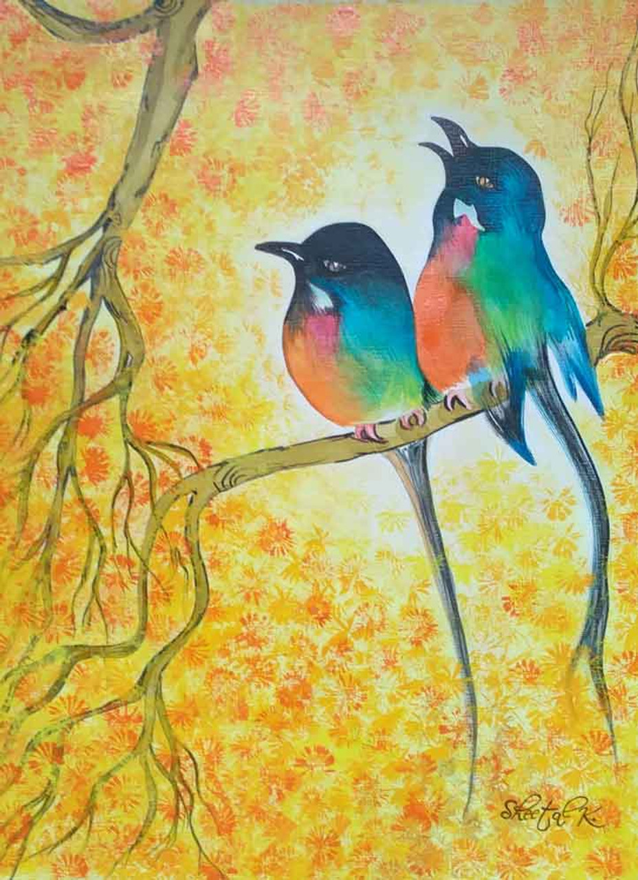 Love Birds (ART_1435_15399) - Handpainted Art Painting - 12in X 16in