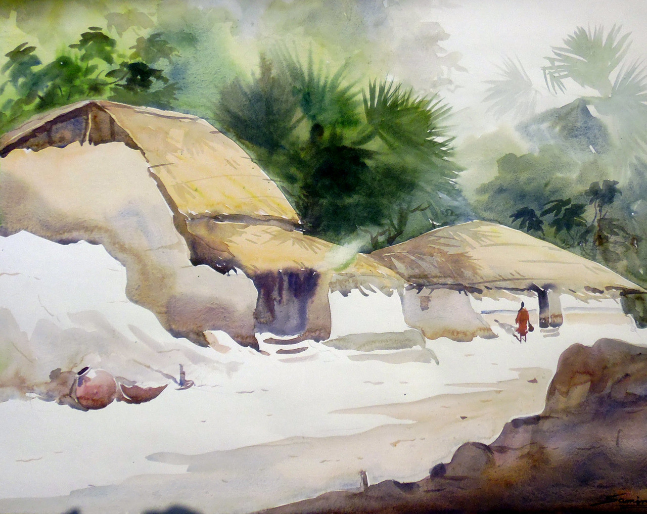 0e6c5fa6edcb7 Beauty of Bengal Village II (ART_1232_15760) - Handpainted Art Painting -  23in X 18in