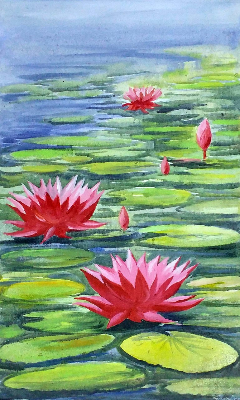 Buy Beauty Of Lotus Handmade Painting By Samiran Sarkar Code