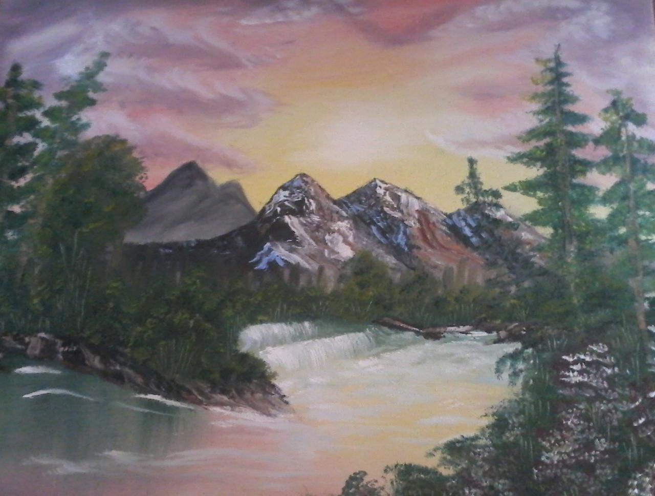 026fa0972 waterfall, sunset, sunrise, mountain, river, nature ,Sun set point,