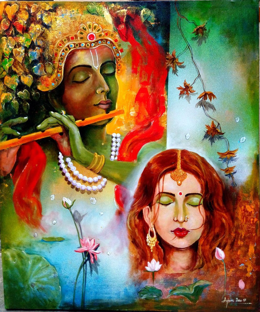 Krishna sang radha (ART_82_16737) - Handpainted Art Painting - 35in X 42in