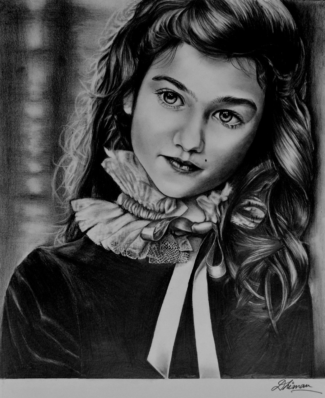 Girl sketch portrait pencil charcoal realistic hyperrealistic art