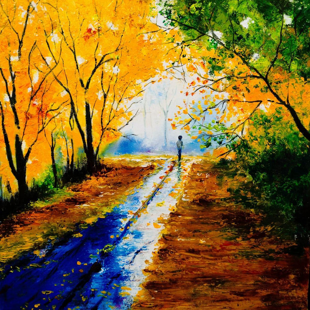 nature painting paintings 2235 oil 18in amar yadav india handpainted artist handmade