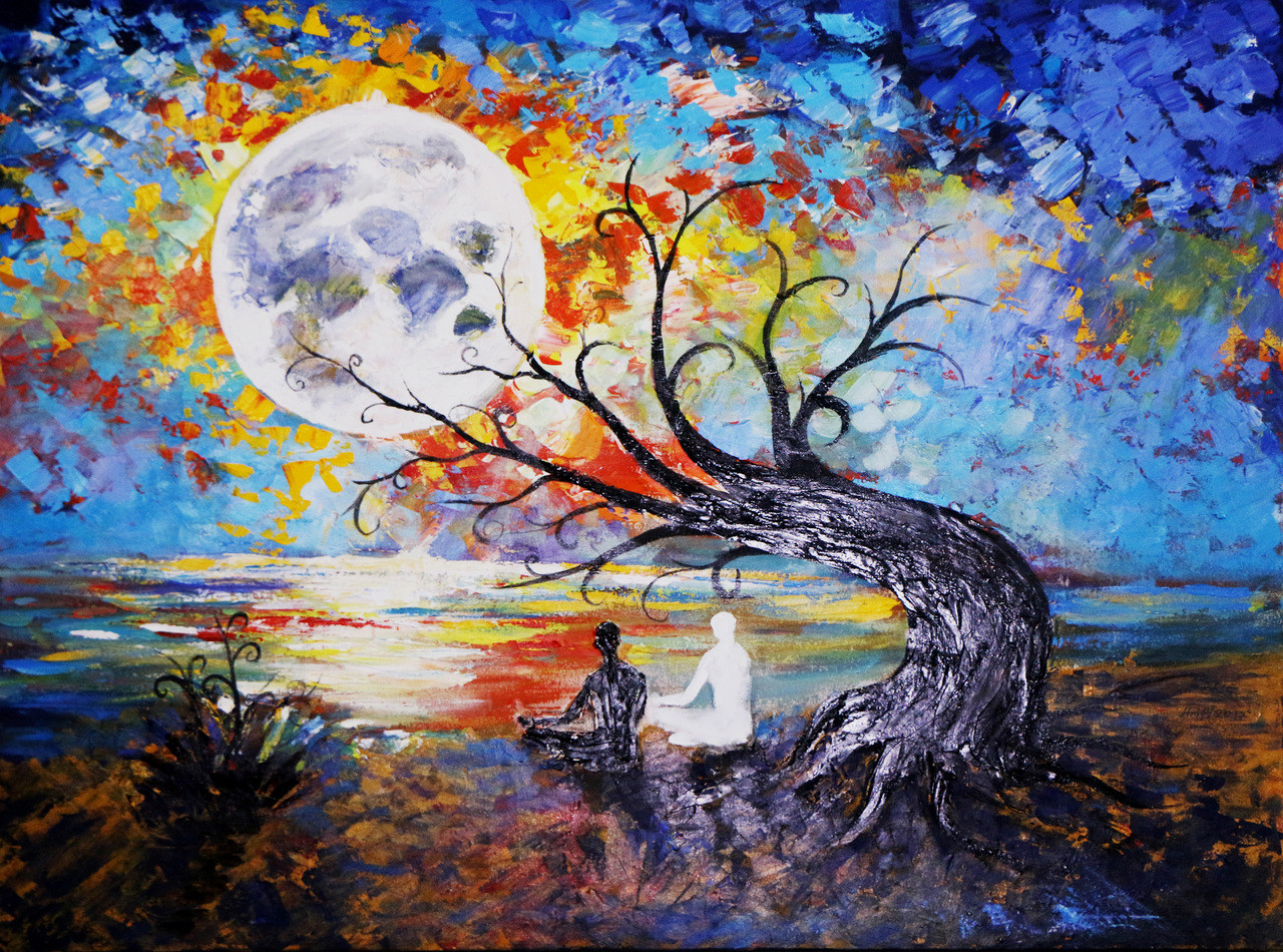 Buy Full Moon Meditation Handmade Painting by Arif Ahmed ...