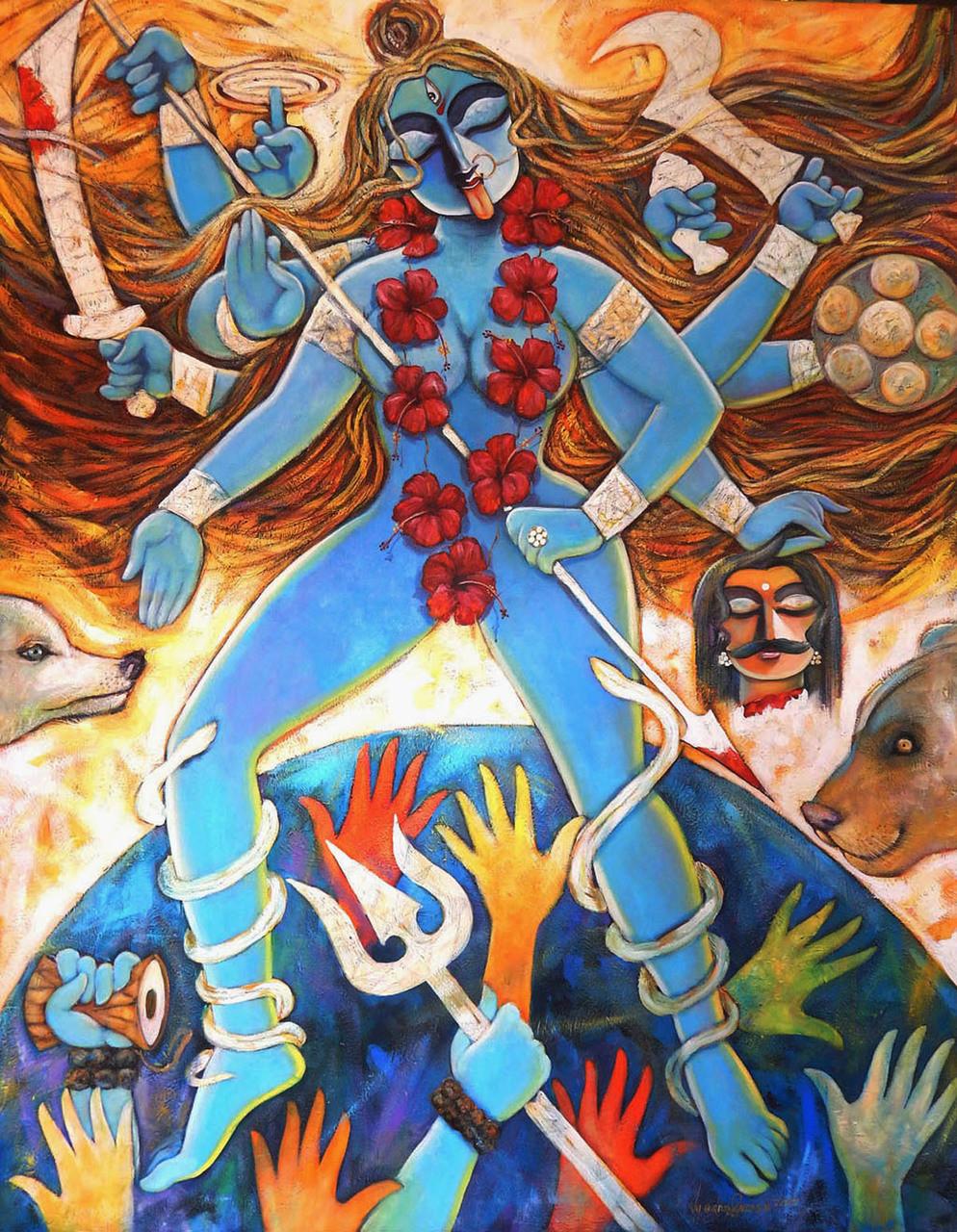 Jaganmoyee Art 1469 17851 Handpainted Art Painting 48in X 60in