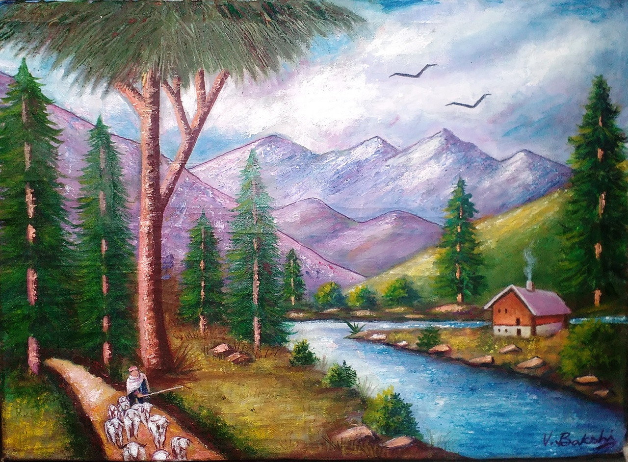 Oil Painting Images Download: Buy Landscape On Canvas Handmade Painting By Vinod Bakshi
