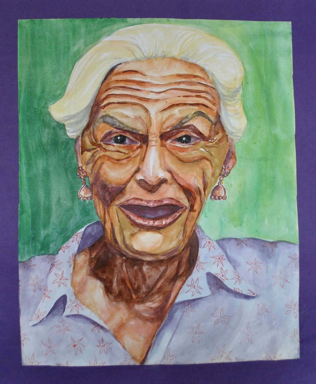 Buy Old Lady With Flower Design Shirt Handmade Painting By Radhika