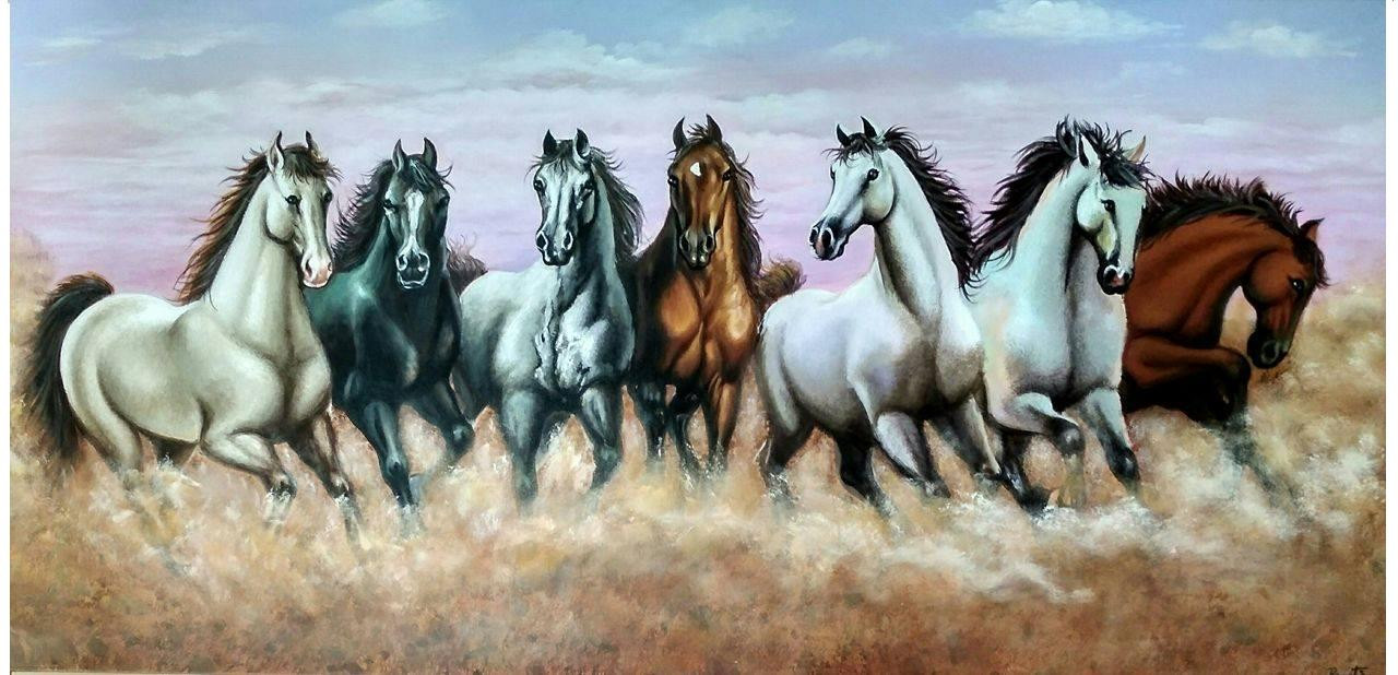 Buy Vastu 7 Horses Handmade Painting By Preeti Dungarwal Code Art 2521 19719 Paintings For Sale Online In India