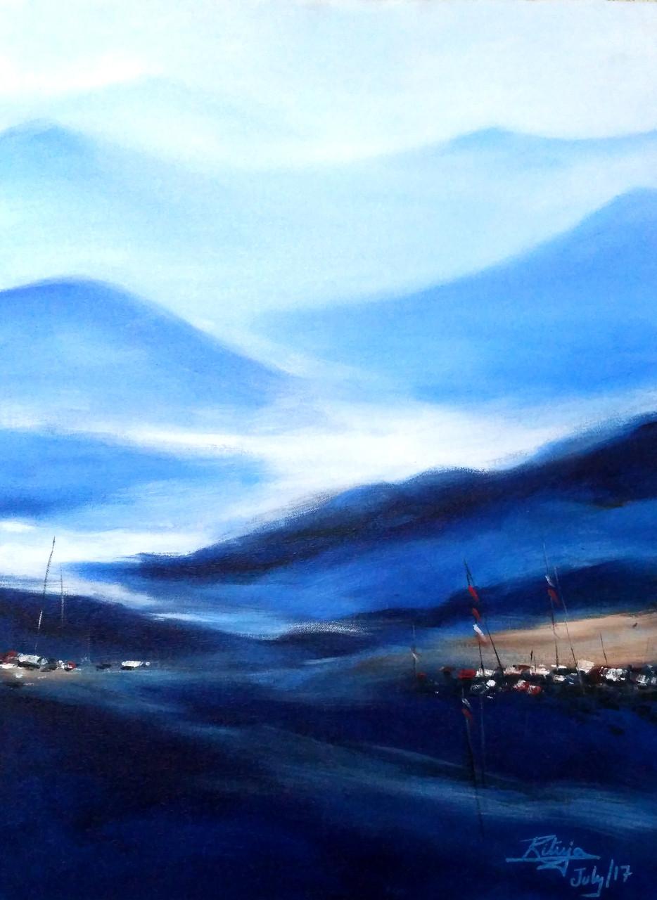 d3b2ad00e Mountains,Blue Mountain,ART_1268_20299,Artist : Rituja Gayen,Acrylic
