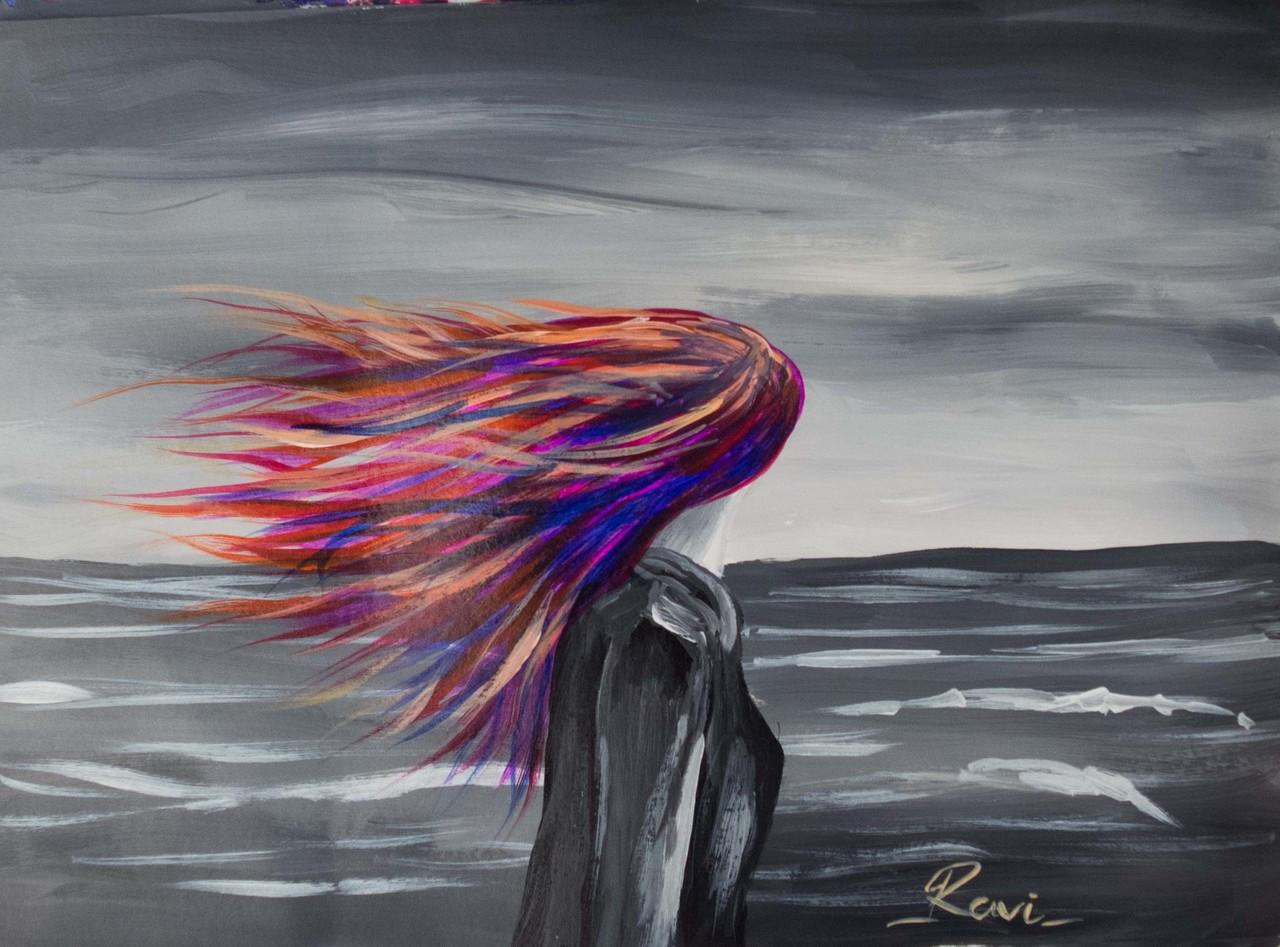 Femine girl walking alone motivation seascape colorful landscape sea