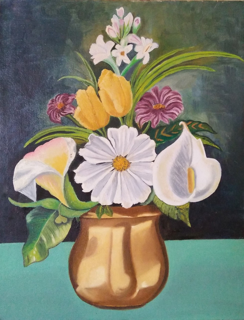 Fizdi.com & FLOWERS IN VASE (ART_3041_20736) - Handpainted Art Painting - 14in X 18in