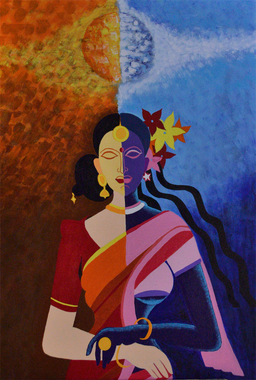 Day And Night Women Art 3065 20821 Handpainted Art Painting 24in X 36in