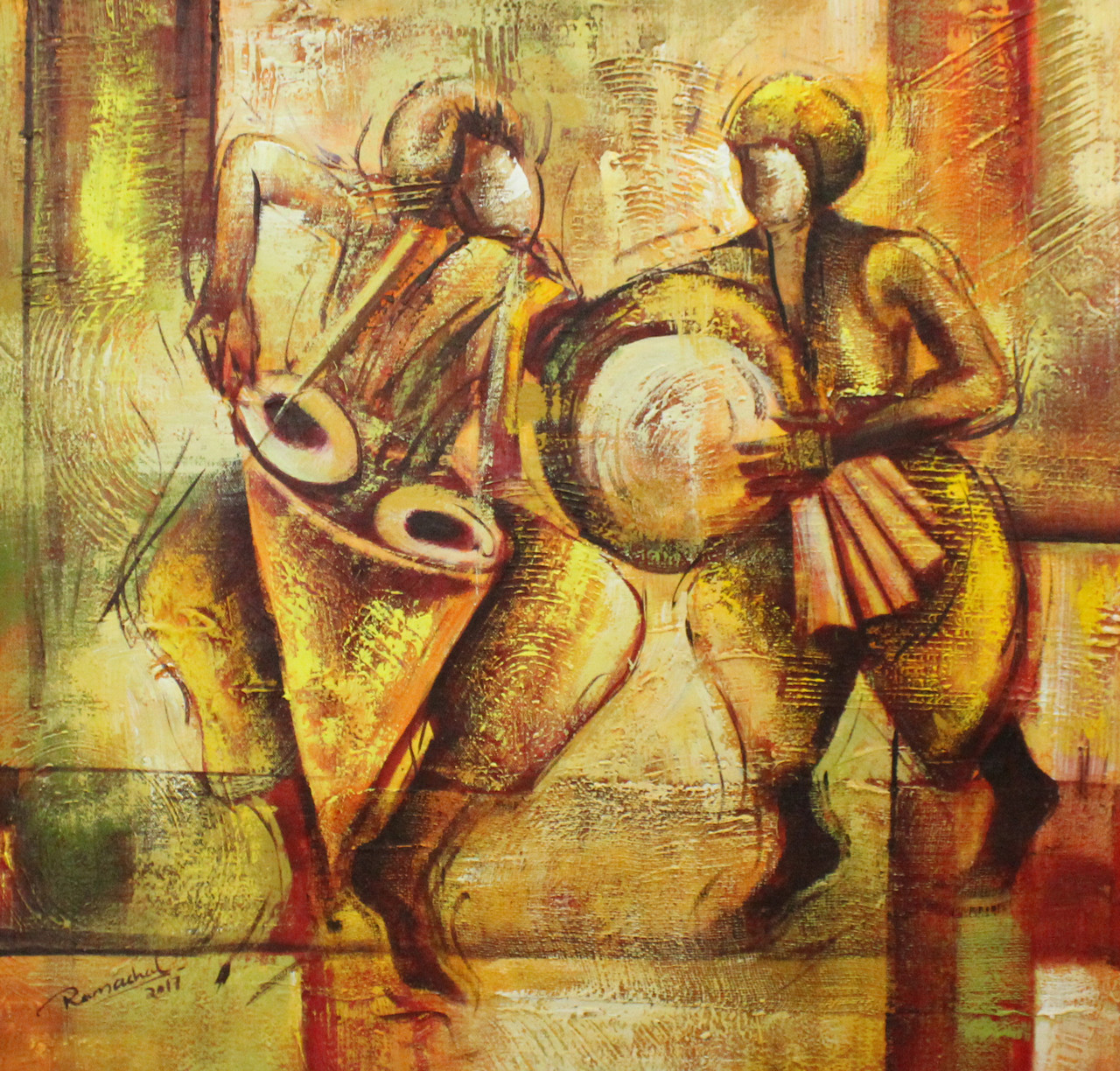 Indian musical Art 07 (ART_1522_20749) - Handpainted Art Painting - 24in X  24in