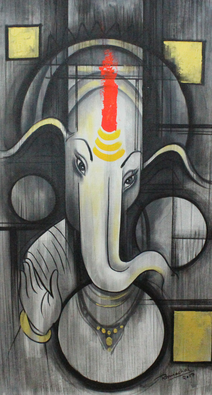 Ganpati Art 02 Art 1522 20917 Handpainted Art Painting 17in X 34in