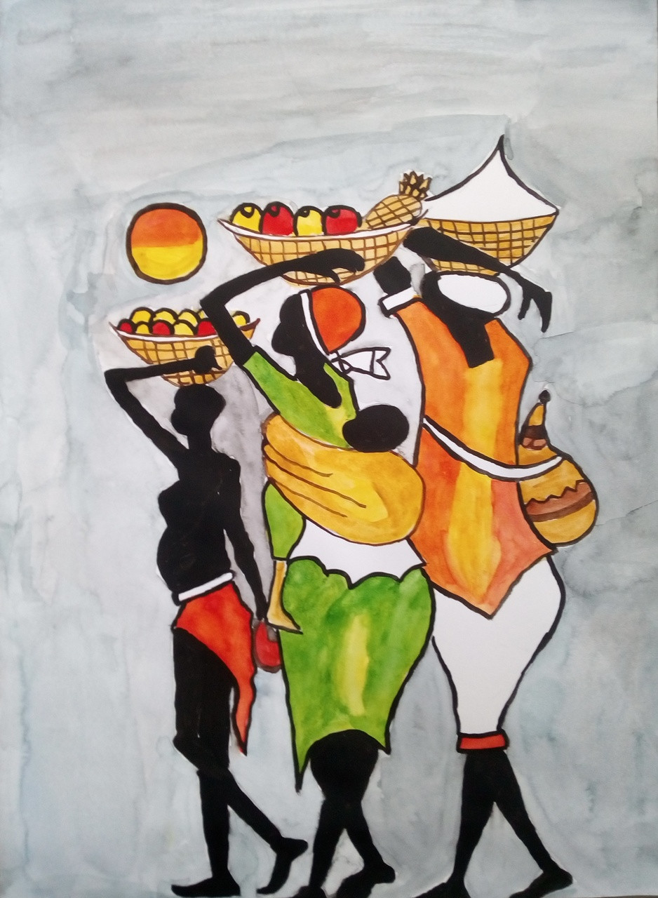 Folk and village lifedaily lifeart 3114 21024artist debasree chatterjeewater