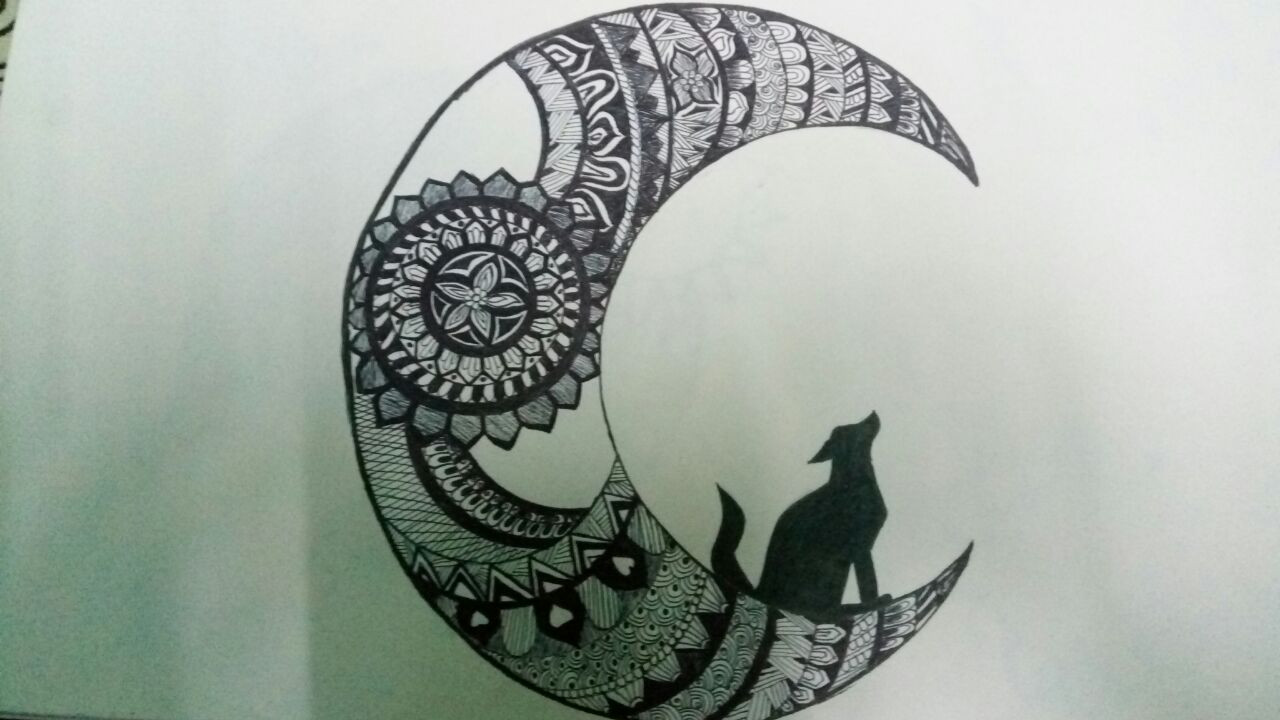 Buy Moon Mandala Handmade Painting By Munira Doriwala Code