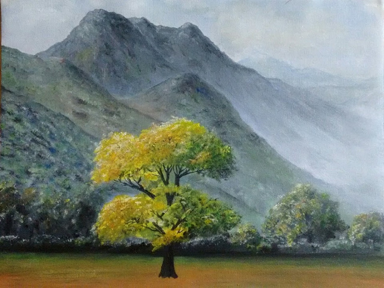 5c1e28898 Buy Silent Mountains-Beginning of Autumn Handmade Painting by MALINI ...