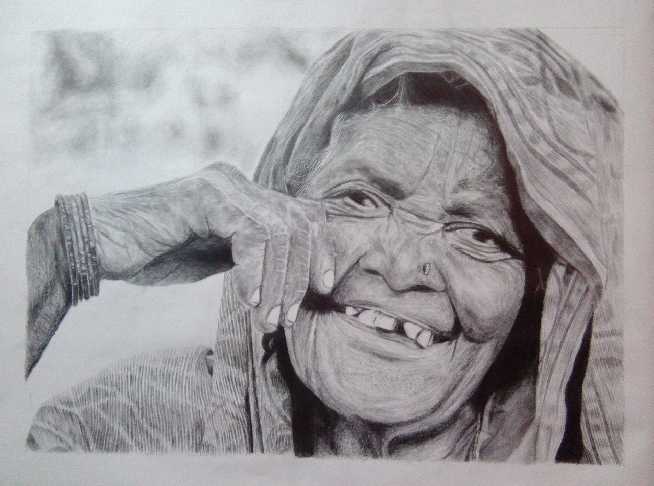 Sketch paper old woman portrait pencil drawing the divine smile