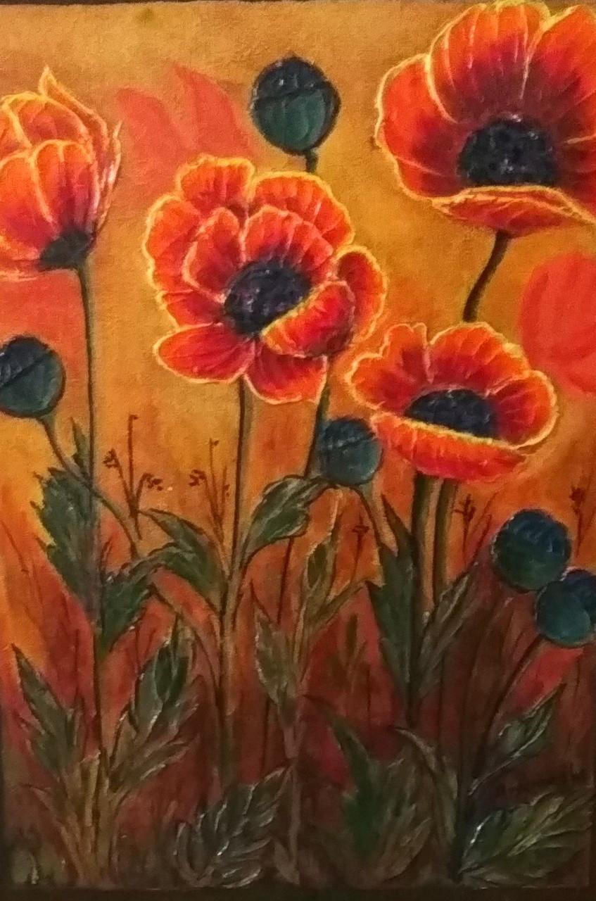 Buy Poppy Flowers Handmade Painting By Anuradha Kulkarni Code