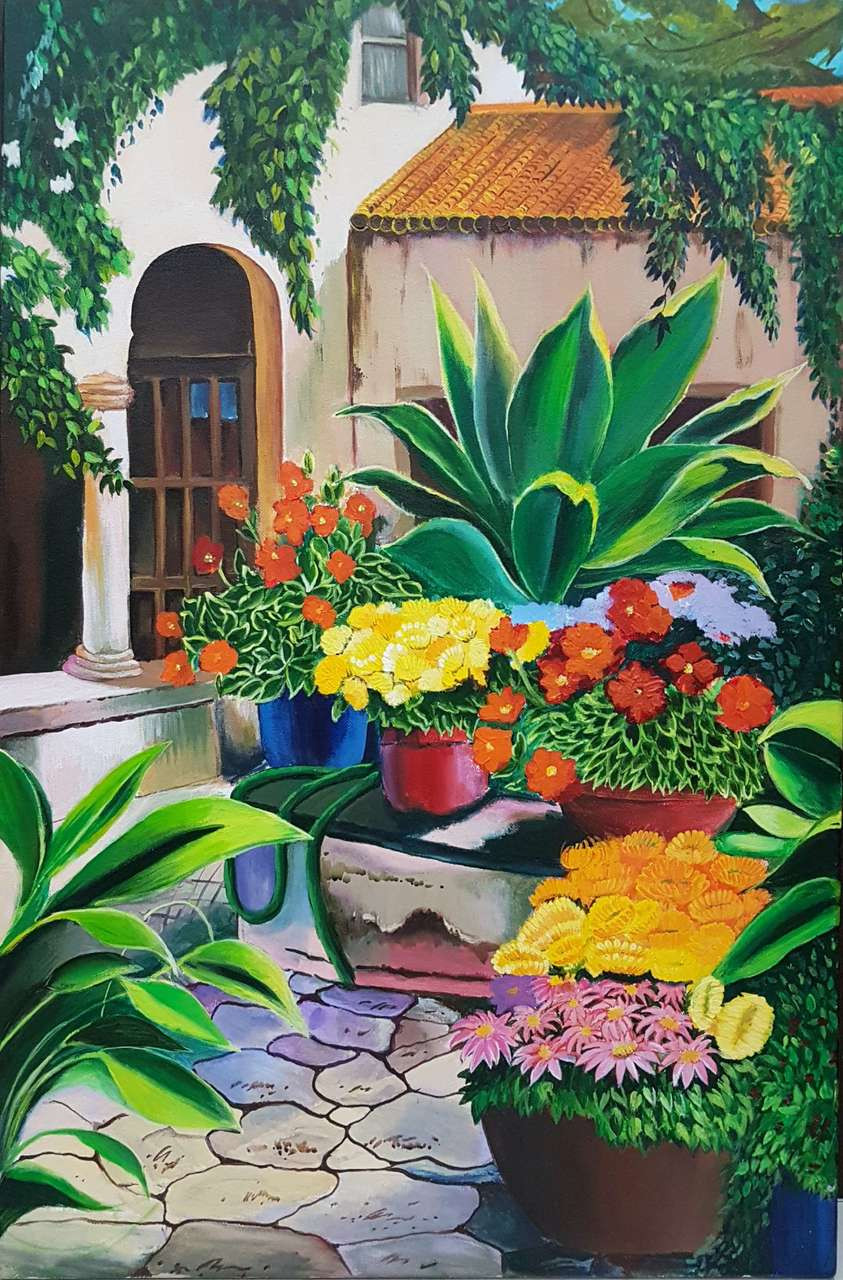 a49df7a08 Buy The backyard garden Handmade Painting by Pooja Lalwani. Code:ART_3416_23105  - Paintings for Sale online in India.