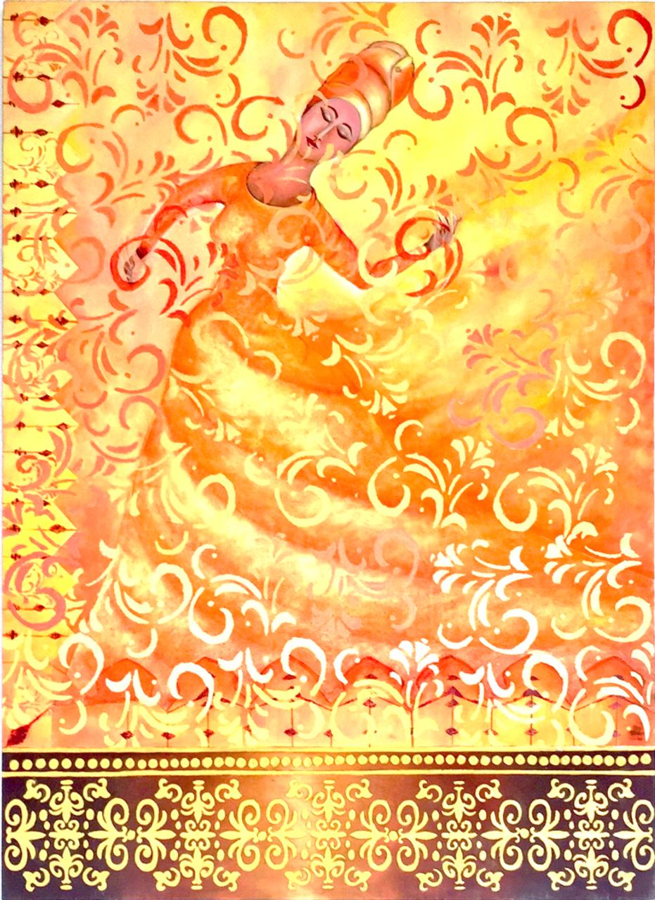 The Sufi Dance: Spiritual Oneness (ART_4028_25170) - Handpainted Art  Painting - 35in X 48in