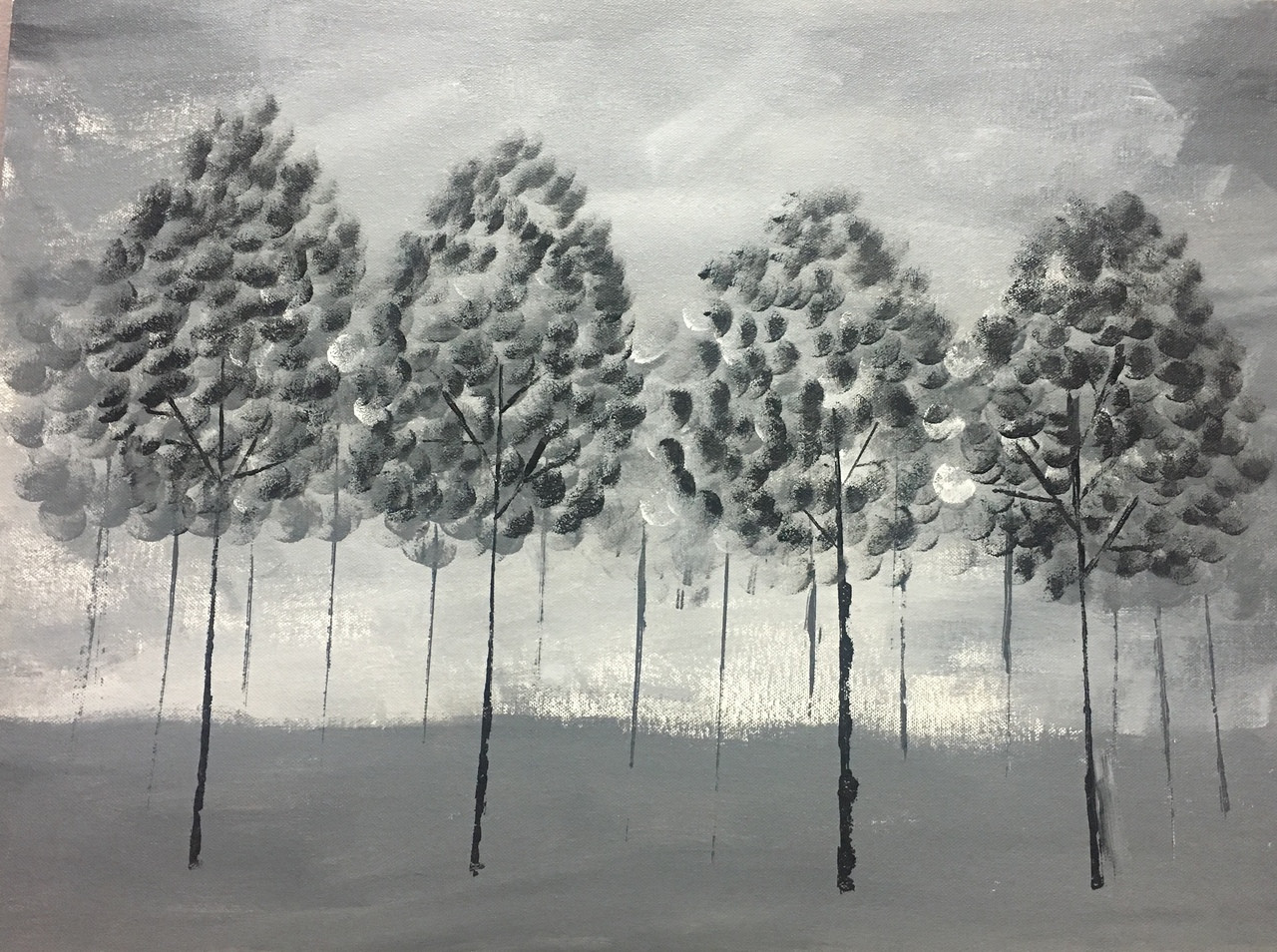 Buy black and white trees handmade painting by ayeesha abrar codeart 3551 25383 paintings for sale online in india