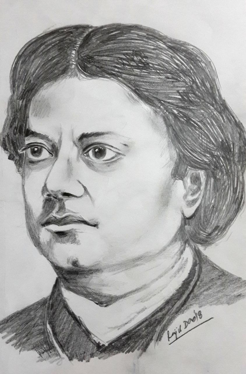 Buy swami vivekananda sketch portrait handmade painting by rajib kumar das codeart 4209 25876 paintings for sale online in india