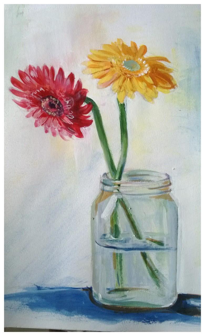 Fizdi.com & Flower pot (ART_4282_26328) - Handpainted Art Painting - 8in X 10in