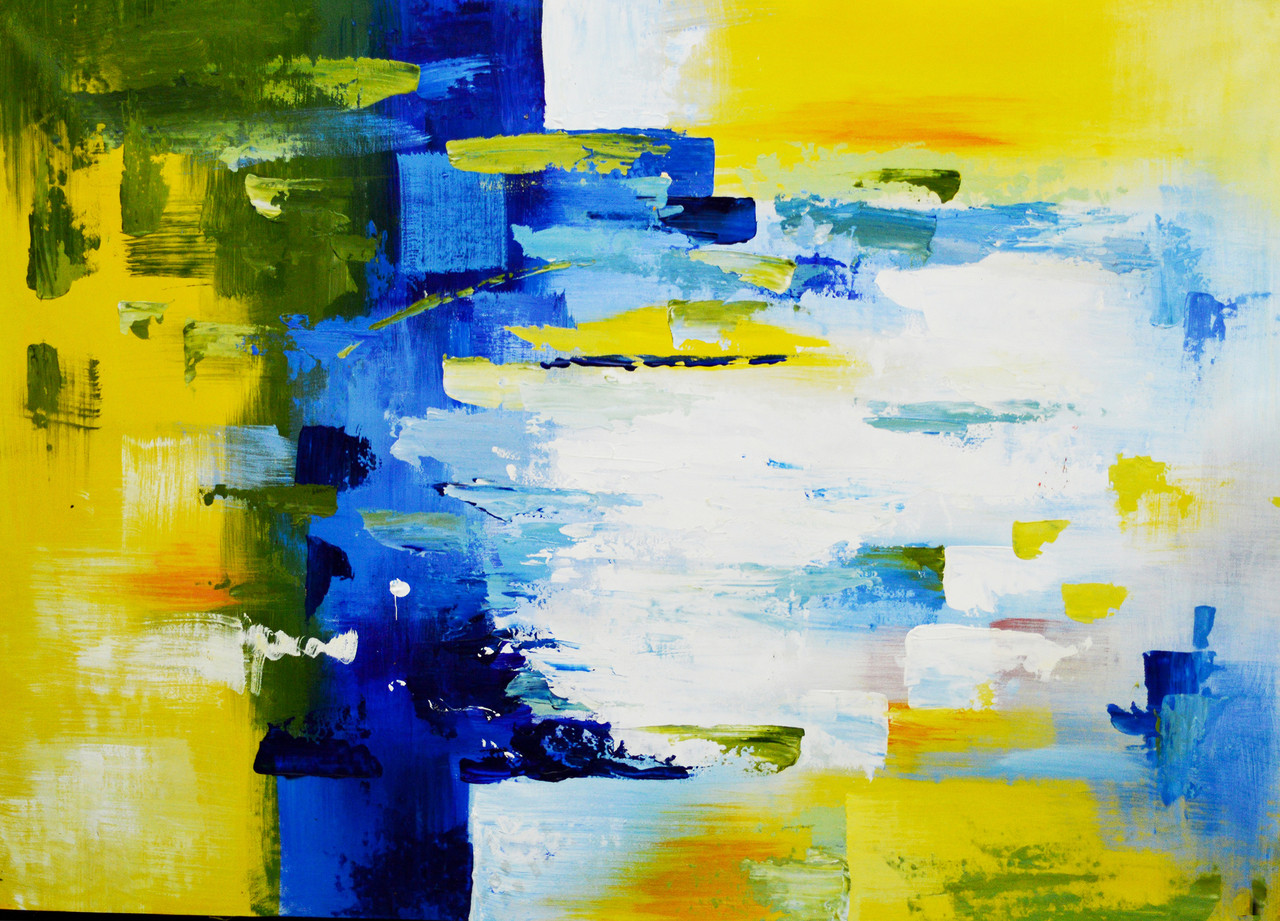 Yellow Blue Abstract Fr 1523 23804 Handpainted Art Painting 36in X 24in
