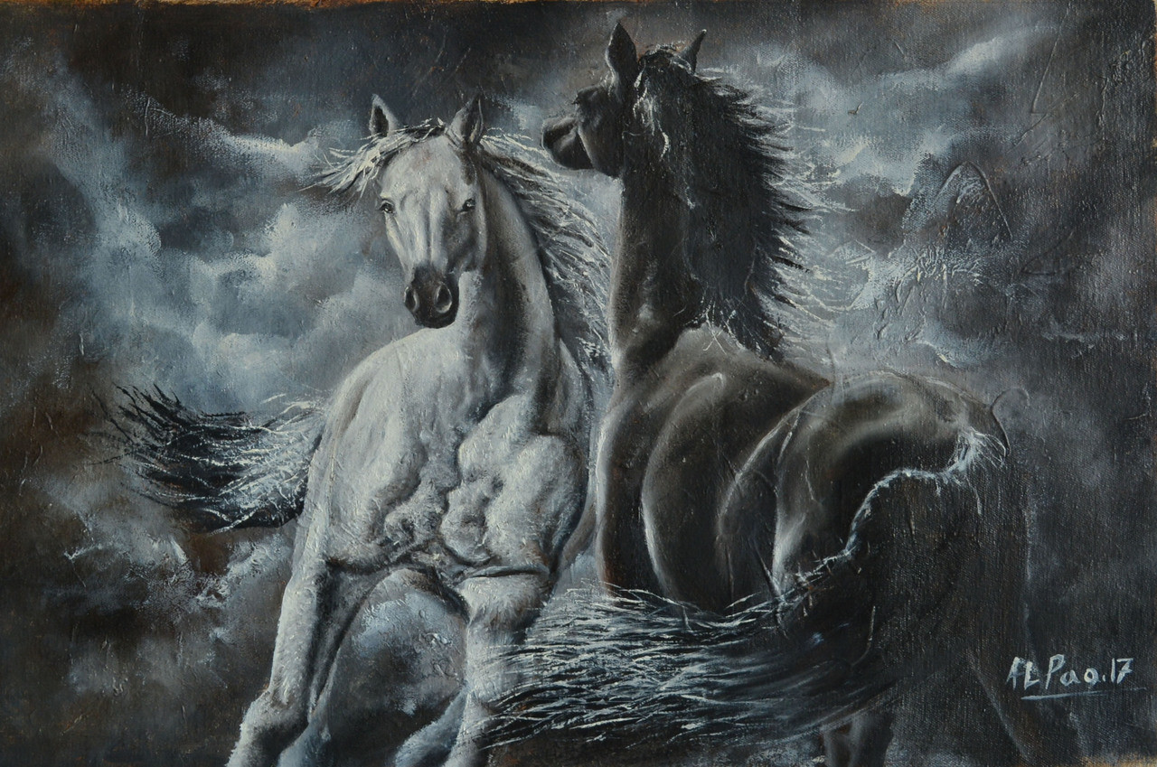 Buy Two Horses Handmade Painting By Alex Pao Code Art 479 26747 Paintings For Sale Online In India