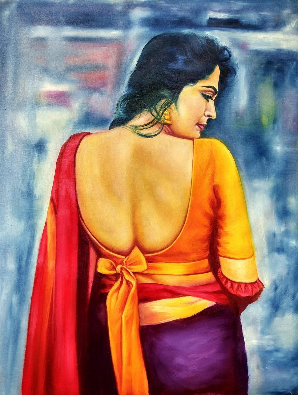 Buy Indian Woman Handmade Painting By Umesh Bharti Code -3418