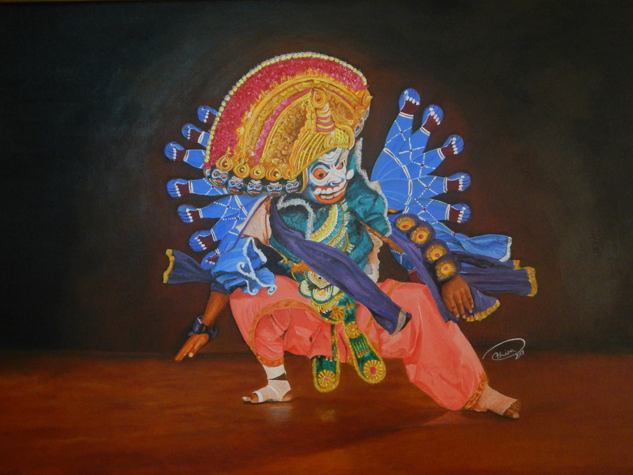 e7b13a071 Buy Chhau Dance Form Handmade Painting by Athira Raj. Code:ART_4032_25180 -  Paintings for Sale online in India.