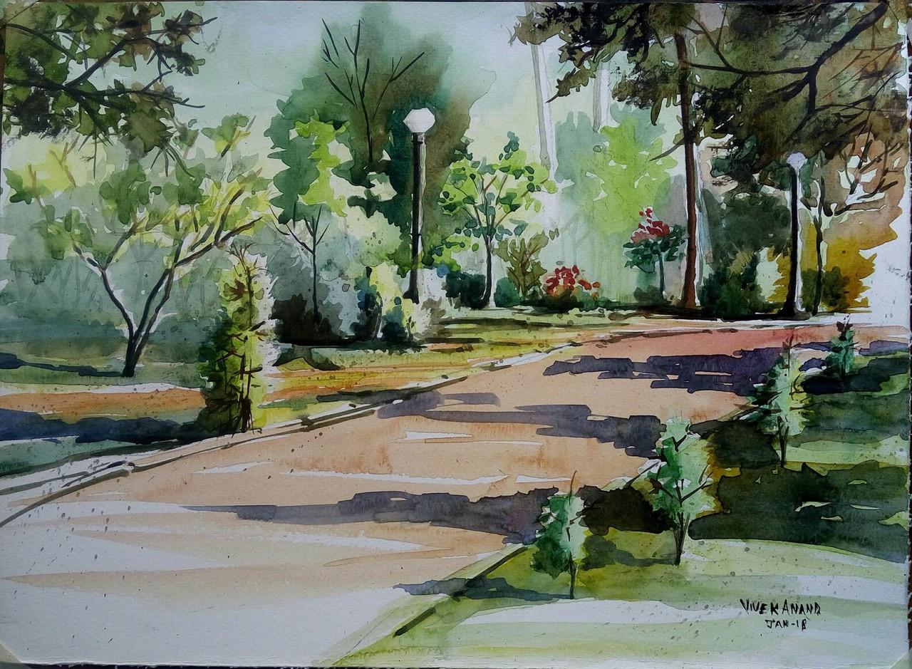 Cubbon Park Bangalore Art 4505 27428 Handpainted Art Painting 14in X 11in