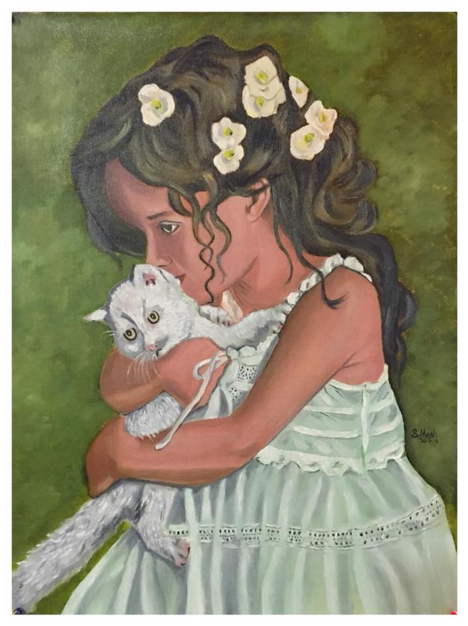 buy cute little girl handmade painting by subhash gijare code