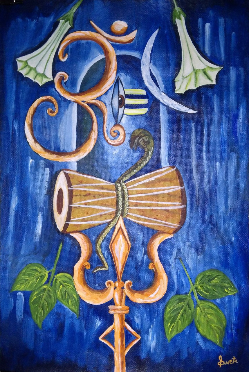 LOrd Shiva (ART_2871_27409) - Handpainted Art Painting - 15in X 22in
