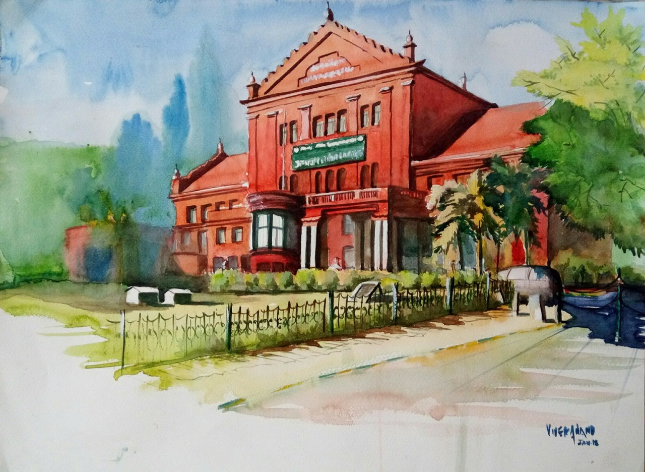 State Central Library Bangalore Art 4505 27308 Handpainted Art Painting 19in X 13in